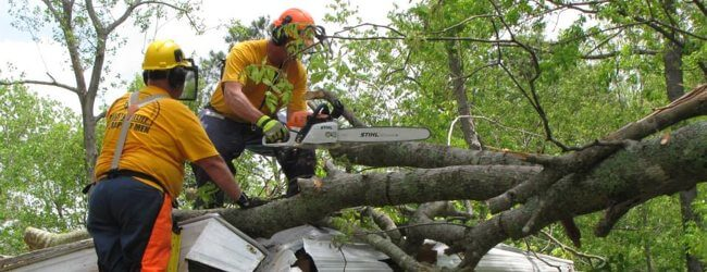 Disaster Relief volunteers use chainsaws to clear debris after the tornadoes in North Carolina this spring.