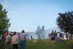 Campers gathered in the morning fog each morning as Rev. Jonathan Hilliard led a devotion.